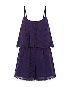 Navy Broiderie Layered Playsuit  | New Look