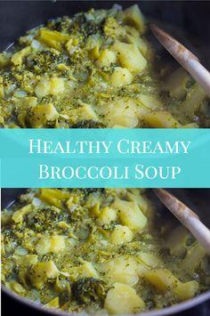 ★★★★★ 612 Healthy Creamy Broccoli Soup – Move over Cream of Broccoli Soup -This recipe for Healthy Creamy Broccoli Soup is a no cream version with the indulgent flavor and no guilt. Creamy Broccoli Soup Recipe, Creamy Soup Recipes, Broccoli Soup Recipes, Cream Of Broccoli Soup, Dinner Recipes Easy Quick, Healthy Dinner Recipes, Vegan Recipes, Easy Meals, Cooking Recipes