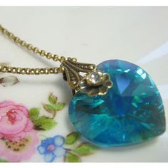 Crystal Heart Necklace #victorian