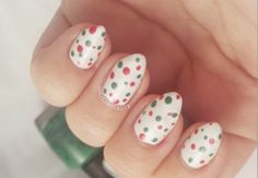 Super cute red and green Christmas polka dot nails! So easy to do, too!