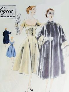 1950s Lovely Party Cocktail Evening Dress and Coat Pattern Vogue Couturier Design 653 Low Shaped Neckline Full Skirt Dress Cuffed Swing Coat Bust 34 Vintage Sewing Pattern