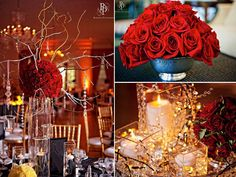 Chic, enchanted wedding reception decor- red roses, hanging crystals
