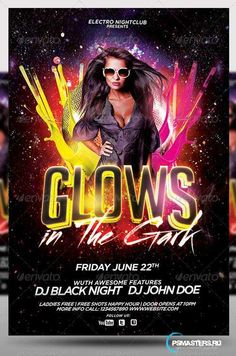 Glow in The Dark Party Flyer Template | Party flyer, Club parties ...
