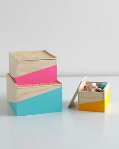 Mad About DIY: 3 Bright Ways To Organize Your Desk, including these cute color blocked storage boxes!