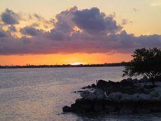Marathon Florida Keys setting sun (orange with dark clouds)