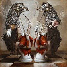 Sophie Wilkins grew up in Ste-Barbe, Québec, taking an interest in art from a young age. She is well known for creating otherworldly portraits. Street Art, Realism Artists, Surreal Artwork, Surreal Portraits, Modern Portraits, Magic Realism, Surrealism Painting, Art Et Illustration, Art Pictures