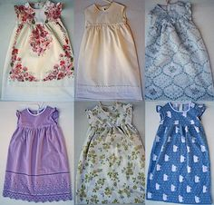 Little girl nightgowns from old pillowcases