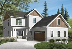 exterior front — PLAN - Nikolas 2 - Country cottage house plan with 4 bedrooms, master suite, home office, open concept, fireplace and built-ins (Drummond House Plans) 5 Bedroom House Plans, Porch House Plans, Courtyard House Plans, Garage House Plans, Cottage House Plans, Car Garage, Farm House, Farm Cottage, Cottage Homes