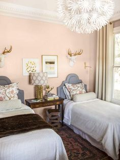 """Tye Street Project: Pink Twin Bedroom - Thou Swell.paint color """"One to Remember"""" by Behr; striped spreads at Target Rustic Platform Bed, Warm Paint Colors, Neutral Paint, Blush Bedroom, Paint Shades, Atlanta Homes, Contemporary Bedroom, Minimalist Bedroom, White Walls"""