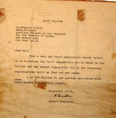 """Scanned letter that Albert Einstein sent to the Stern terror gang when it solicitated him to raise funds in the United States to support its terrorism against British and the Palestinians. In the US, the Stern Gang operated under the title of :""""American Friends of the Fighters for the Freedom of Israel"""" Irgun and the Stern Gang attacked Deir Yassin, a Palestinian village and carried out the murder of  over 200 people, half of who were women and children."""