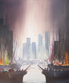 """Original Painting """"Untitled, Cityscape and Boats"""" by Ozz Franca"""