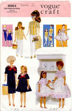 Doll Clothes Pattern for Barbie and Skipper. Vogue This pattern is out of print. Shop for vintage sewing patterns and doll clothes patterns in mydollstore. Sewing Barbie Clothes, Barbie Sewing Patterns, Sewing Dolls, Vogue Patterns, Doll Clothes Patterns, Doll Patterns, Clothing Patterns, Barbie Style, Barbie Skipper