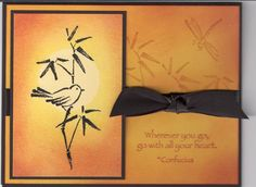 handmade card ...  Asian Artistry  by blindstamper  ... golden hues with black mats, ink and ribbom ... gorgeous!