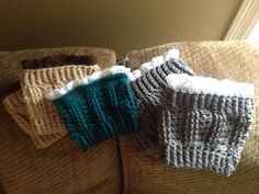 Boot cuffs with crocheted lace at the top