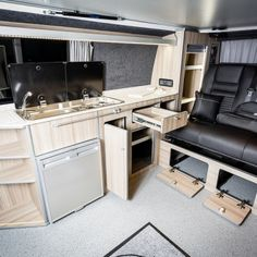 The Clark's Traditional 'Lux' BI-Turbo Edition Camper Conversion - New Wave Custom Conversions Vw T5 Interior, Campervan Interior, Vw Camper Conversions, Land Rover Defender, Motorhome, Trailers, Conversation, Home Appliances, Waves