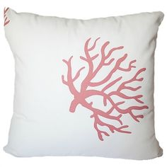 Coral On White Coral Cushion