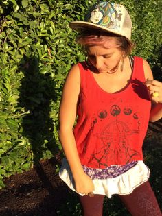 Red Tribal Crop Top  Yoga Tee  Women's by OurTimelessCreation
