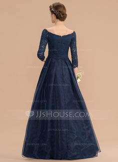 A-Line Off-the-Shoulder Asymmetrical Organza Lace Bridesmaid Dress With Ruffle - Bridesmaid Dresses - JJ's House Source by dress man Black Bridal Dresses, Navy Prom Dresses, Prom Dresses With Sleeves, Simple Dresses, Evening Dresses, Lace Bridesmaid Dresses, Wedding Dresses, Hijab Dress Party, Ballroom Dress