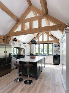Contemporary Timber Frame House Plans Luxury 15 Of the Best Oak Frame Homes Barn Kitchen, Farmhouse Style Kitchen, Home Decor Kitchen, Pole Barn House Plans, Pole Barn Homes, Küchen Design, House Design, Oak Framed Extensions, Oak Framed Buildings