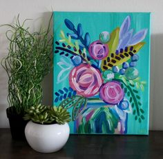 Handmade colorful, tropical inspired rainbow floral arrangement in a mason jar acrylic painting on an 11 in x 14 in canvas with a perfect light yet bold spring/summer color scheme on a bright turquoise background with matching painted edges.  This piece is just the punch of color and tropical style you need in every room!  This canvas works well with many color schemes and would be a wonderful accent piece on a larger wall in nearly any room of the house or office.  It would also make t...