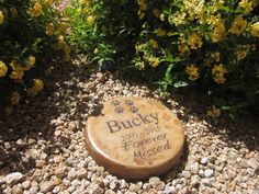 """Personalized Engraved Pet Memorial Step Stone 7.5"""" Diameter 'Forever Missed'"""