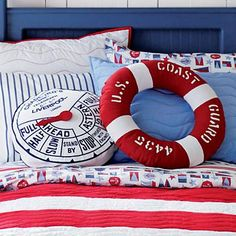 Kids life preserver and telegraph throw pillows make a great addition to any nautical themed room. Nautical Bedding, Nautical Nursery, Nautical Home, Nautical Party, Nautical Cushions, Nautical Style, Life Preserver, Coast Guard, My New Room