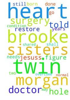 Prayer request:  Twin sisters (Brooke and Morgan) They - Prayer request Twin sisters Brooke and Morgan They were born with holes on their hearts ,Morgan surgery was done but she still has a hole in her heart ,she needs prayers so that God can work through Doctors to figure out how to restore her heart normal structure. Brooke was told by the Doctor that her condition requires her to go through a surgery sometimes in two years. I met her down town and I shared with her a devotion and told her…