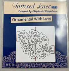 Tattered Lace Cutting Die Ornamental With Love Sentiment D1290 #TatteredLace Selling On Ebay, My Ebay, Ornaments, Lace, Racing, Christmas Decorations, Ornament, Decor