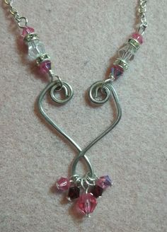 KIT Wire Heart Necklace Pink / Red