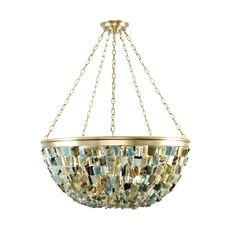 Twiggy, is a tutti-frutti cahndelier in brushed brass and we hung it with  various coloured jade stones to complete the 60's look. With eight 40-E14  lights.   Description: Chandelier, Brushed Brass Finish, Turquoise Jade, 8 Lights,  40-E14  Item Code: BS-TG-CH-BB-E14  Sizes: 100 cm Dia x 1