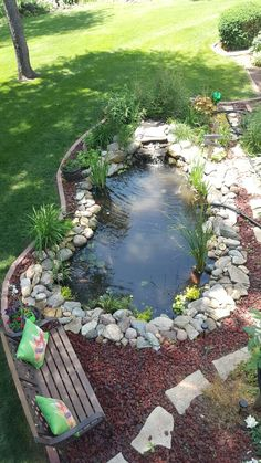 Small Backyard Ponds, Ponds For Small Gardens, Fish Pond Gardens, Backyard Water Feature, Lawn And Landscape, Landscape Design, Garden Pond Design, Diy Pond, Pond Waterfall