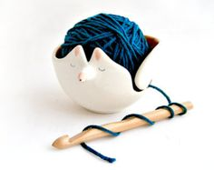 Ceramic Fox Yarn Bowl/ Knitting Bowl/ Crochet Bowl, Decorated in Orange Color and with Sgraffito of Polka Dots Inside-Made To Order