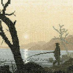 Gone Fishing - Sepia Cross Stitch