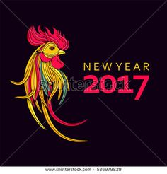 New year 2017. Rooster symbol of the Chinese new year.