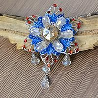 How to Make Charming Glass and Rhinestone Flower Brooch for Women