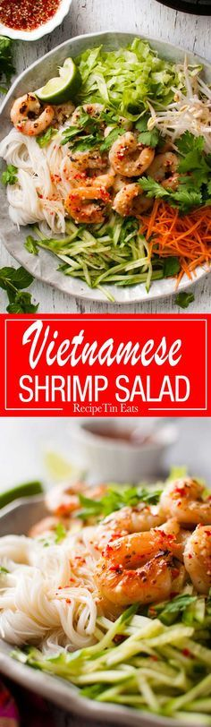 Vietnamese Shrimp Noodle Salad - lovely bright, zesty flavours, incredibly healthy, fast to make and an awesome dressing. www.recipetineats.com