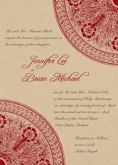 Eco Friendly -Architecture Elements in Red- Wedding Invitations | LFF Designs | www.facebook.com/LFFdesigns