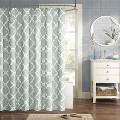 "Amazon.com: Madison Park MPE70-082 Essentials Merritt Shower Curtain 72x72"" Aqua,72x72"": Bedding & Bath"