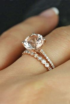 Morganite Engagement Ring with a diamond wedding band.
