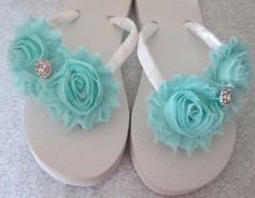 Embellished Double Flower Flip Flops - Pick your flower & strap color wedding shoes flip flops white ivory blue navy sapphire rhinestone satin bow flower embellished clear something blue bride accessory beach wedding nautical custom made pearl double flower chiffon red orange yellow green blue purple pink grey black maroon coral peach fuchsia lavender lilac rose brown mint emerald tiffany sky navy turquoise