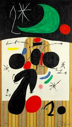 """Own a Joan Miro masterpiece """"Interieur et Nuit"""" 1969 Signed Lithograph on wallpaper.   Invest in Fine Art at: www.denisbloch.com"""