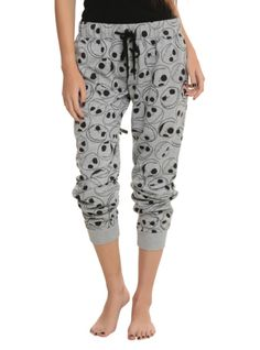 Comfy girls pajama pants with allover Jack heads print design and an elastic drawstring waist.