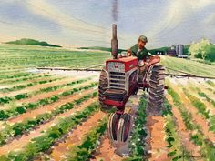 Barn, Tractor & Farm Life Art - Agricultural Landscape Paintings for Sale New Holland Agriculture, Modern Agriculture, Agriculture Quotes, Agriculture Projects, Agriculture Logo, Watercolor Landscape, Landscape Paintings, Tractor Drawing, Farm Images
