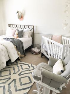 Designing a shared nursery can be a challenging project for many parents. Whether it's a shared nursery with parents, a shared nursery and a toddler room or a shared nursery for twins- designing a shared nursery is absolutely do-able. Baby Bedroom, Baby Room Decor, One Bedroom, Bedroom Sets, Bedroom Decor, Master Bedrooms, Comfy Bedroom, Childrens Bedroom, Stylish Bedroom