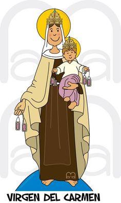 Parroquia San Cristóbal: ORACIÓN A LA VIRGEN DEL CARMEN Blessed Virgin Mary, Love Mom, Mother Mary, First Communion, Roman Catholic, Religious Art, Naive, Madonna, Nativity