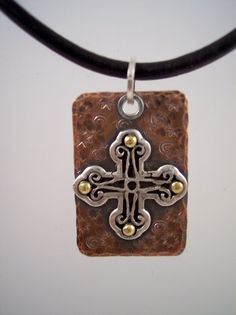 Hammered copper pendant with riveted sterling by KATHRYNKATZ, $74.00