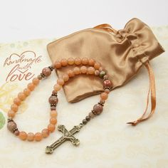 Red Aventurine Anglican Prayer Beads by Unspoken Elements Rosary Prayer, Rosary Catholic, Prayer Beads, Rosaries, Yoga Fashion, Thoughtful Gifts, Crosses, Mantra, Artisan Jewelry