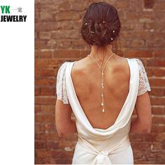 N2016040305 Novo pano de fundo de cristal mulheres pingente de prata chain link gota voltar cadeia cadeia corpo colar de jóias de casamento pérola em Torques de Jóias & Acessórios no AliExpress.com | Alibaba Group