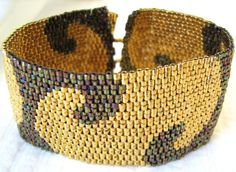 Golden Nights Peyote Cuff / Peyote Bracelet 2277  A by SandFibers,