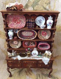 Shelf Bookcase Hutch China Cabinet Dressed 1:12 Dollhouse Miniature